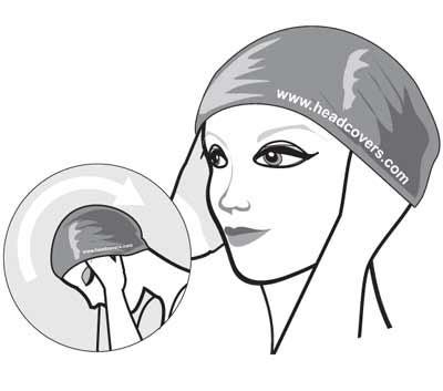 sliding swim cap over the head